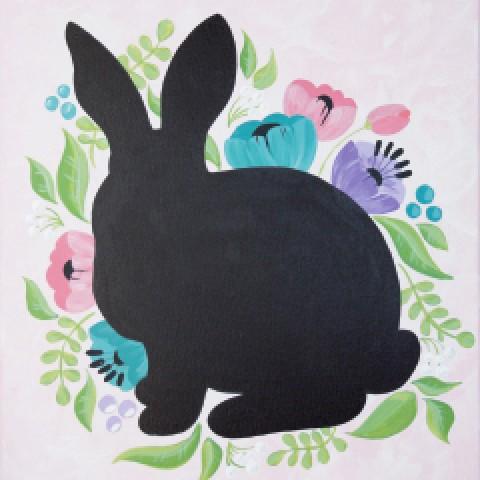 Floral Rabbit (Chalkboard)