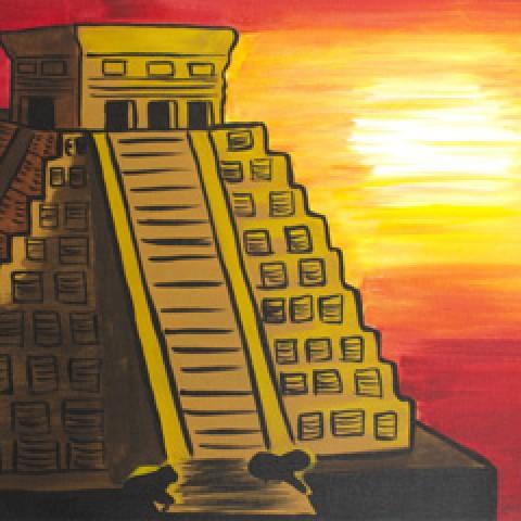 Mayan Temple Sunse