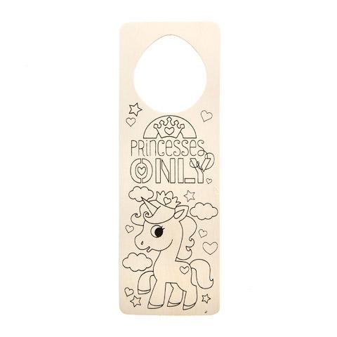 Color-In Door Hanger - Unicorn