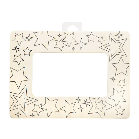 Darice® Color-In Picture Frame - Unfinished Wood - Stars - 7.5 X 5.5 Inches