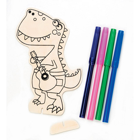 Wood Craft Pack With Markers - Dinosaur - Makes 1