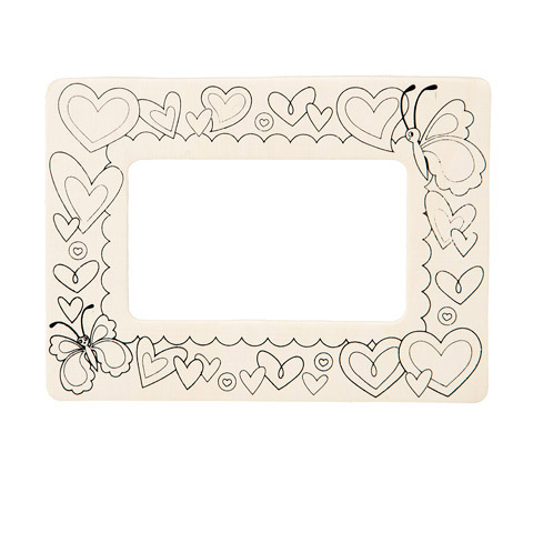 Color-In Picture Frame - Unfinished Wood - Hearts - 7.5 X 5.5 Inches