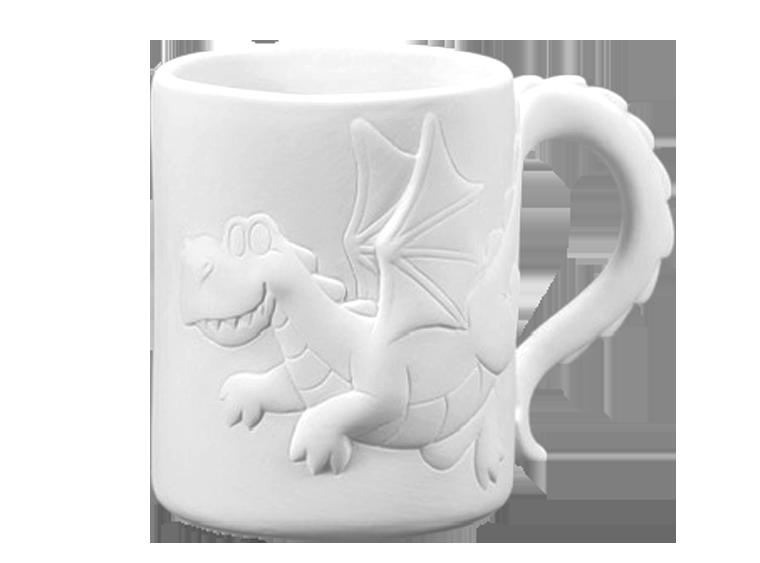 Bisque Pottery Dragon Mug