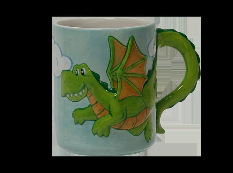 Bisque Pottery Dragon Mug Painted