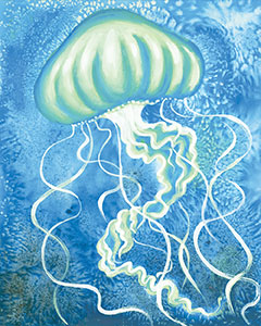 Watercolor Jellyfish Design Template